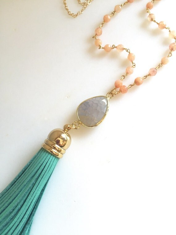 Tassel Necklace Turquoise and Peach. Leather Tassel.  Long Gold Tassel Necklace. Gold Tassel Necklace.  Boho Style. Strand Necklace.