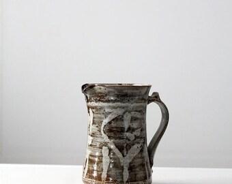 SALE signed studio pottery, vintage gray ceramic pitcher, 70s pottery