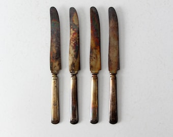 vintage Stratford silver plate knife set, collection 4 dinner knives