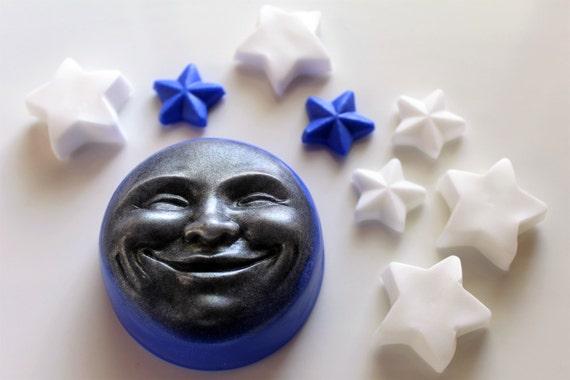 MOON SOAP, Blue Moon and Stars, Star Soap, Celestial Soap, Novelty Soaps, Moon Lover, Custom Scented, Vegetable Based, Handmade