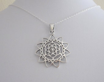 Flower of Life with hearts sacred geometry sterling silver pendant with chain necklace