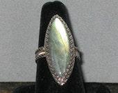 Green Labradorite Sterling Silver Ring, Size 8 1/2