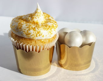 25 Gold Foil Cupcake Dessert Wrappers, Gold Cupcake Liners, Gold Wedding Cupcake Liners, Gold Dessert Cups, Dessert Cups, Gold Party Decor