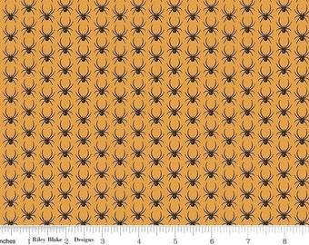 Riley Blake. Lost & Found Halloween. Spiders Orange - Cotton Fabric - BTY - Choose your cut