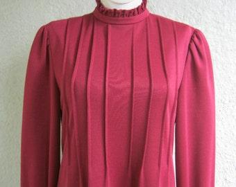 70s Dress  - California Girl Dress Cranberry or Maroon - Ruffle Trim Pintuck Dress - Day Dress - Hippie Dress - Too Cute