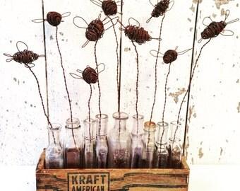 9 Wire Art Bees, 9 Vintage Bottles, 1 Vintage Wood Kraft Cheese Box, in Garden Art Arrangement