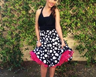Polka Dot Retro Style Infinity Convertible Wrap Dress...Black and White Polka Dots ... Car Show, VLV, PinUp, Bridesmaids, Wedding Dress