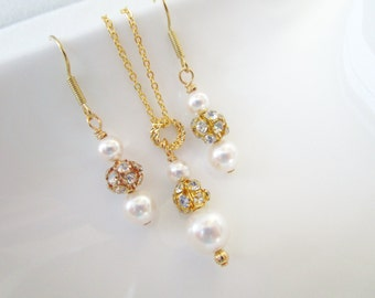 Six (6) Bridesmaid Necklace And Earrings Jewelry Sets,Pearl & Rhinestone Bridesmaid Jewelry, Set of 6 Bridesmaids,Gold Bridesmaid Jewelry