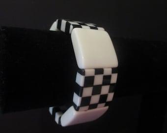 Black & White Checkered Stretch Bracelet Summer Fun