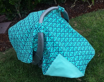 Car Seat Cover and Matching Booties -  Anchors - Nautical