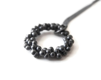 Dots - handmade sterling silver necklace - black