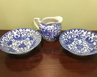 Japan Flying Turkey Bowls and Creamer Blue and White