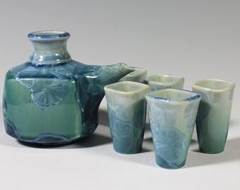 Turquoise Crystalline Sake Set