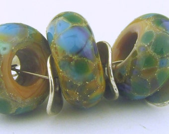 Handmade Lampwork Sage base with Silver Foil and Organic Blues Frit BHB Bead (3 )- Organic Collection - LEteam