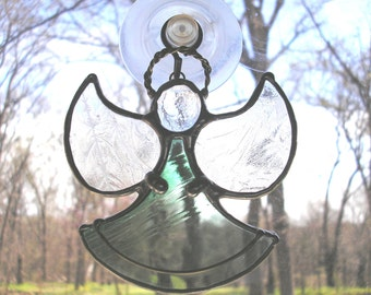 LT Stained glass Angel suncatcher light catcher made with clear green and glue chip textured clear glass wings