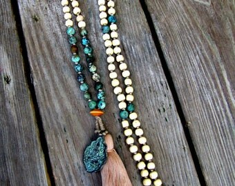 MALA Necklace Mala Beads Tassel Necklace Boho Necklace Mala Boho Jewelry African Turquoise Mala Healing Jewelry Long Necklace Summer Jewelry