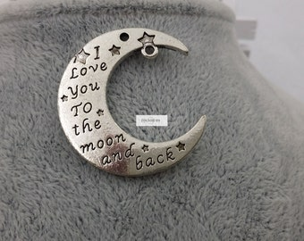 Double sides design-I love you to the moon and back-moon charms 35 pcs-F724
