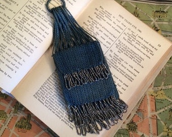 A 1920s Antique Flapper Ring Coin Purse With Beaded Fringe