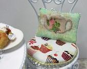 Dollshouse Miniatures. Cushion Pillow. Tea Shop, Teapot Design