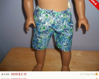 American 18 Inch doll clothes shorts blue with flowers