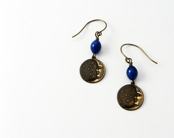 Crescent Moon Earrings (Man in the Moon and Star Jewelry) with Dark Cobalt Blue Beads The Color of the Night Sky  - Astronomy Gift