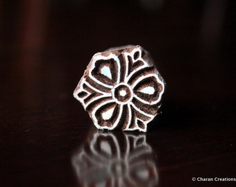 Soap Stamp, Pottery Stamp, Textile Stamp, Indian Wood Stamp, Tjaps- Tiny Stylized Flower