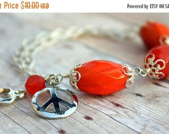 THANKSGIVING SALE Orange Czech Glass Nuggets Peace Bracelet (Reduced)