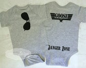 Aviator Sunglasses bodysuit THE ORIGINAL  with Goose Danger Zone on the Bum pictured in Heather Grey Pick your Favorite Name