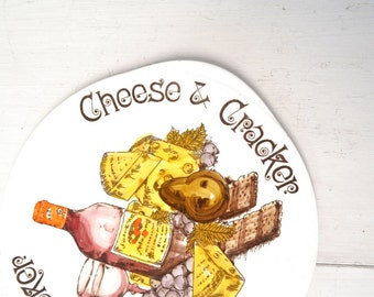 Cheese and Cracker Tray 1960s White Ceramic Wine Cheese Graphics Vintage Mid Century Serving Tray