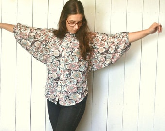 Sheer Floral Blouse Hippie Boho 1960s Vintage Dolman Sleeve Button Up High Collar Loose Fit Top Small Medium Large