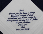 Father of the Groom Handkerchief from Groom --corner design with Wedding date White
