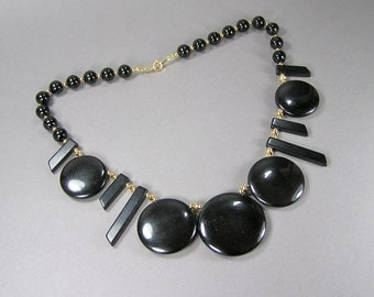 Crown Trifari Necklace, Black Geometric, Restoration Project, 60's, Signed