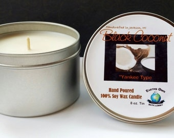 8 oz Black Coconut 100% Soy Candle. Yankee Type, Hand Poured, Highly Fragranced Amazing Scent, Long Burn. Eco Friendly. Vegan