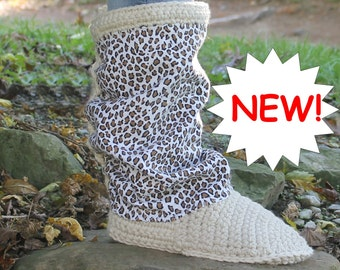 Crochet Boots Pattern ---- FABRIC LEG BOOTS ---- use any fabric you want --- imagine the possiblilities---- for street or home with opt sole
