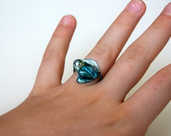 Teal Shell with Spirals Ring