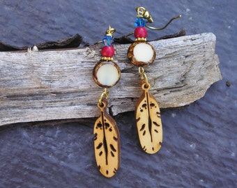 five dollar earrings, five dollar gifts, wood earrings, bird feather earrings, Native American, Montana, Swarovski crystal, Czech glass