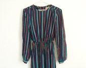 1980s rainbow striped dress , shift dress , secretary day dress , casual dress