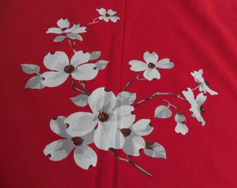 Wilendur Vintage Tablecloth Red White Dogwood Blossoms 54 x 64 EXC!
