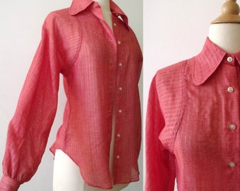 70's Women's Hippie Red Coral Blouse Top ~ Small