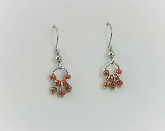 Simple small red dangly earrings