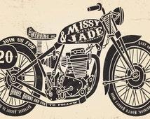 Motorcycle Wedding Invitation, Biker Bride, Budget Wedding Invitations, Custom Listing for melissazietlow1
