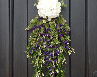 Spring Wreath Summer Wreath Teardrop Vertical Door Swag Decor-White Hydrangea-Purple White Artificial Florals-Indoor/Outdoor Decor