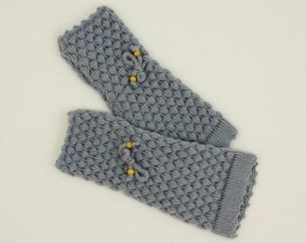 Women's Gray Knit Fingerless Gloves Knitted Arm Warmers Wrist Warmers Half Finger Gloves