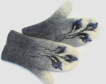 Felted Mittens Grey White Blue