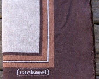 Vintage Brown and Tan Rectangle  Cacharel Tablecloth