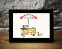 ORIGINAL Watercolor Painting New York Hot Dog Cart Dachshund