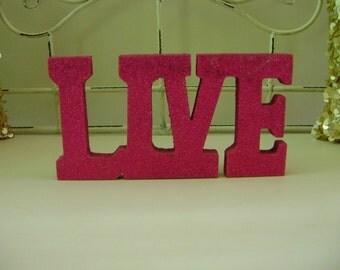 Pink Glitter Live Sign