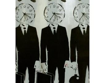 Stencil Art Clockman Original Painting on Canvas 18x24 CLONE 925 Spray Paint Acrylic Paint and Stencil Original Artwork Warhol Banksy Obey