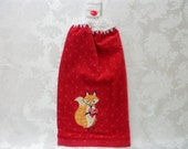 Hanging Double Kitchen Be Mine Valentine's Day Towel Valentine Towel Fox Towel Crochet Hanging Kitchen Towel