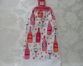 Hanging Double Kitchen Towel Wine Valentine's Day Towel  Wine Lover's Hanging Towel Crochet Hanging Kitchen Towel
